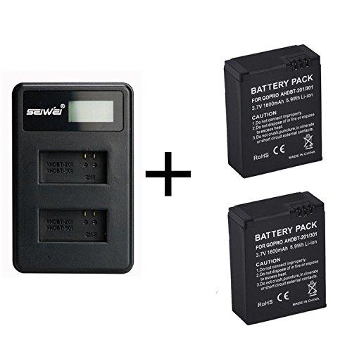 2 stuks 1600 mAh voor GoPro AHDBT-201/301 camera accu met dual lader voor Gopro Hero 3 3+ AHDBT-301, AHDBT-201 batterij