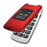 Easyfone Prime A1 3G Teléfono para Personas Mayores con Tapa, Audífonos Compatibles, Teclas Grandes, Cámara de 2.0MP, Fácil de Usar Celular para Ancianos con SOS (Rojo)
