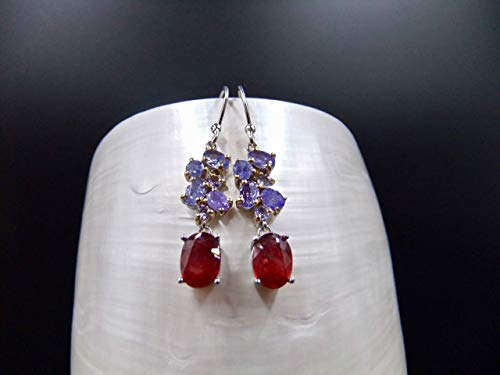 Ruby, Tanzanite, Sterling Silver, Earrings