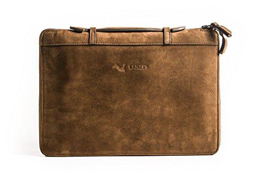 KANZEK Brown Luxury Zippered Full Grain Leather Portfolio / A4 Organizer / Slim Folio with Handles for Executive Professionals. Distressed Vintage - iPad Pro / Macbook / 12' Notebook - Men's & Women's