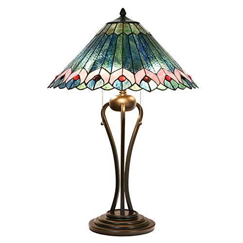 Lumilamp Lámpara de mesa Tiffany 5LL-5391 de poliresina y cristal multicolor