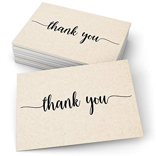"""321Done Thank You Note Cards (Set of 50) 4"""" x 6"""" - Blank on Back - Made in USA, Cute Modern Script Kraft Tan Thick Cardstock, Large"""