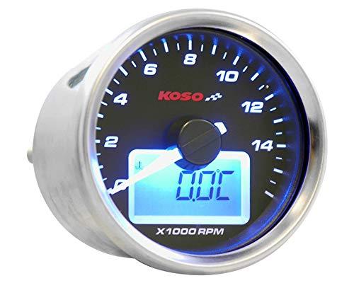 Drehzahlmesser KOSO GP Style II Digital Rund Blau 16000RPM
