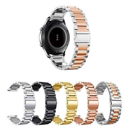 Pulseira Metal 3 Elos para Samsung Galaxy Watch Active 40mm e 44mm - Gear S2 Classic - Gear Sport R600 - Galaxy Watch 42mm - Amazfit Bip - Amazfit Gtr 42mm - Marca Ltimports (Prata com Rose Gold)