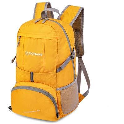 Zaino unisex pieghevole portatile borsa sportiva da esterno zaino strisce riflettenti da uomo borsa da viaggio da trekking campeggio - zaino giallo, 30-40L,