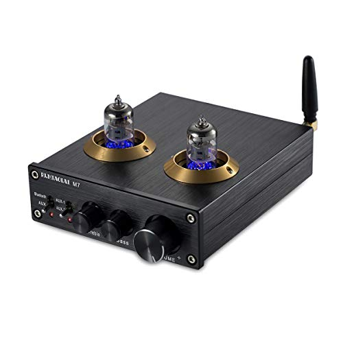 Nobsound Bluetooth HiFi 6J2 Vacuum Tube Preamplifier Stereo PreAmp Digital Treble & Bass Tone Control (Black)