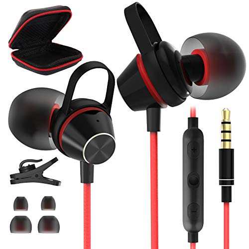 3.5mm Headphone Earphones Earbuds + Carrying Case, Jelanry Hi-Fi Stereo Wired Sports Earbuds Magnetic Bass 3.5mm Headset with Mic + Volume Control for Samsung A71 A72 A51 A52, Moto E6, Oneplus 6 Red