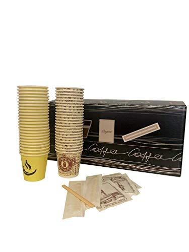 KIT ACCESSORI CAFFE' - 100 Bicchierini colorati, 100 Bustine zucchero, 100 Palette
