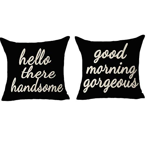 FELENIW 2 Set, Best Blessing Gift to Couple Hello There Handsome Good Morning Gorgeous Happy Valentine's Day Cotton Linen Decorative Throw Pillow Cover Cushion Case 18x18 inches