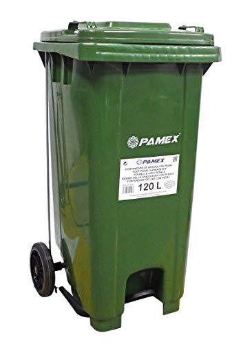 PAMEX - Contenedor Basura 120L con Pedal (Verde)