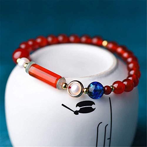 FLYAND Feng Shui Águila Roja Pulsera de la Riqueza Carnelian con glaseado de Colores de Perlas Pulsera Prosperidad Amuleto Atraer Lucky Stretch Bangle Regalo para Mujeres/Hombres