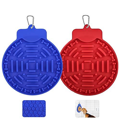 Lewondr Haustier Leckmatte, 2 Pack Langsam Fütterung Napf Anti Schling Napf Super Saugnapf mit Karabinerhaken Interaktiver Spielzeug für Haustier Futter Waschen Training - Blau & Rot