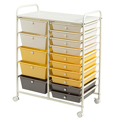 Giantex Rollwagen mit 15 Schubladen, Aufbewahrungswagen Badrollwagen Farbewahl mit feststellbaren Rollen, Haushaltswagen Metallgestell für Büro Küche Bad Wohnzimmer (gelb und grau)