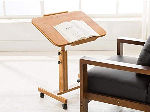 Klaptafel tuintafel eettafel 360 ° draaibaar bureau voor laptop bureau verstelbaar van bamboe voor bed en bank dienblad voor ontbijt bed (kleur: 60 cm)