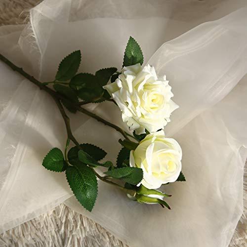 Hunpta@ Künstliche Rose Blumen 2 Köpfe Rosen Kunstblumen Blumenarrangement für Haus Büro Balkon Garten Hochzeit Party Valentinstag Dekoration