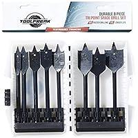 ToolFreak Puntas de Taladro para Madera Conjunto de 8 Unidades de Puntas de Taladro Planas Pala con Regalo de Bonificación GRATUITO Tamaño 12mm 16mm 18mm 20mm 22mm 25mm 28mm 32mm