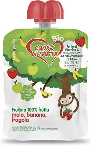 Cuore Di Frutta Frullato Di Frutta Bio Mela, Banana e Fragola - Confezioni Da 90 Gr, 12 Unità