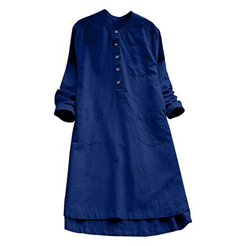 VJGOAL Damen Kleid, Damen Lässige Retro-Baumwolle und Leinen Knopf Lange Tops Bluse Lose Lange Ärmel Mini Hemd Kleid … (46, Blau)