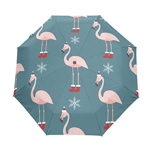 Sombrero de flamenco azul rosa con gorro de Navidad, paraguas compacto de viaje, para la lluvia, el sol al aire libre, el sol, el coche, el toldo reforzado, protección UV, mango ergonómico, apertura y cierre automático
