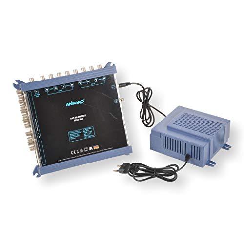 ANKARO Multischalter SEM 9/12 für den Empfang von zwei Satellitenpositionen an bis zu 12 Teilnehmer / 4K, 3D, UHD tauglich/Quattro LNC geeignet