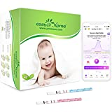 Easy@Home 40 Tiras de Ovulación y 10 Tiras de Embarazo, Kits de Tests de Ovulación y Fertilidad, Impulsado por la App Ovulación Premom gratuita Español Ovulación y fertilidad