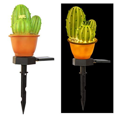 Mobestech - Lámpara solar de jardín creativa con forma de piña de cactus, luces de suelo para exteriores para patio o patio