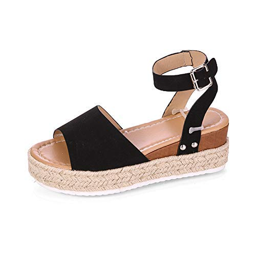 CNWJX Europa en VS riem zomerriem Leopardo sandalen vrouwelijke gesp Pan uit Spanje bodem, dikke vis, armband op enkels met Alto sandalen voor dames zwart