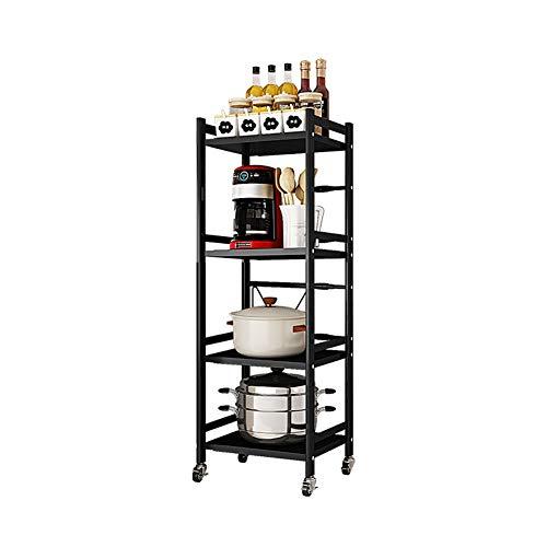 Plasaig - Scaffale multifunzione per forno a microonde, grande, allungabile, con ruote, con supporto per forno a microonde (4 ripiani L-41-65 cm)
