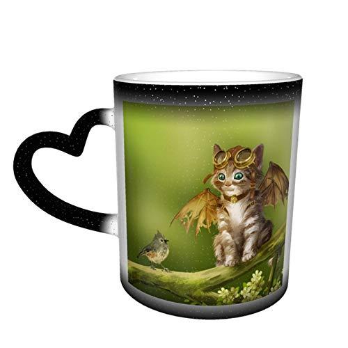 Taza de café cambiante mágica, diseño de pájaro, gato, linda fantasía, alas personalizadas, impresión de cerámica sensible al calor para regalo, té, café