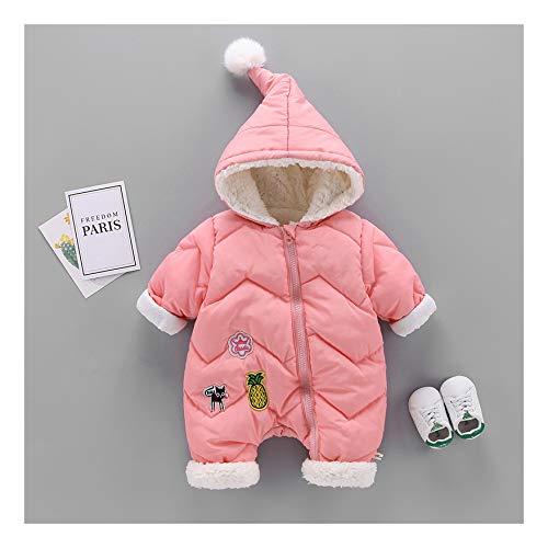MMYYIP Hooded Baby Romper Dikke warme jas capuchon ski jas Cartoon Coveralls broek herfst en winter kleding 0-12 maanden, roze, 73CM