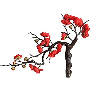 hgs76dh Artificial Plum Blossom Flower Silk Fake Simulation Winter Plum Home Decoration Wedding Bouquet Party Bouquet Decor (Red)