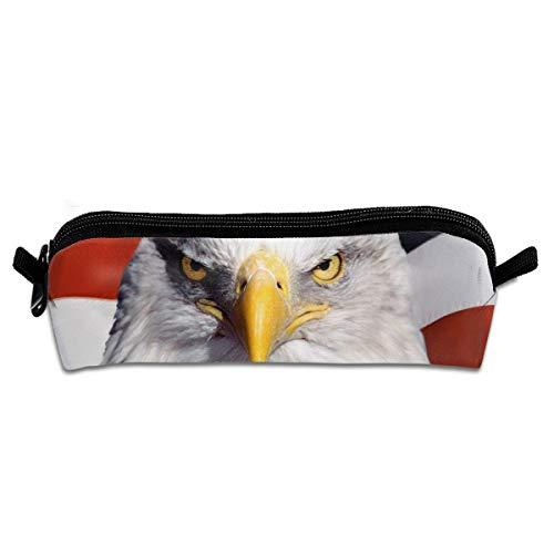 American Flag Bald Eagle Pencil Case Pen Bag Pouch Stationary Case Makeup Cosmetic Bag