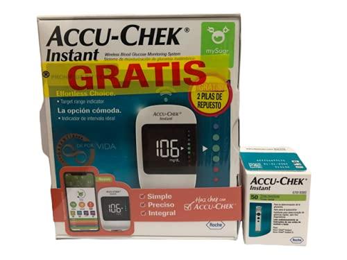 Accu-Chek Instant, 50 tiras reactivas, incluye un glucometro de obsequio.