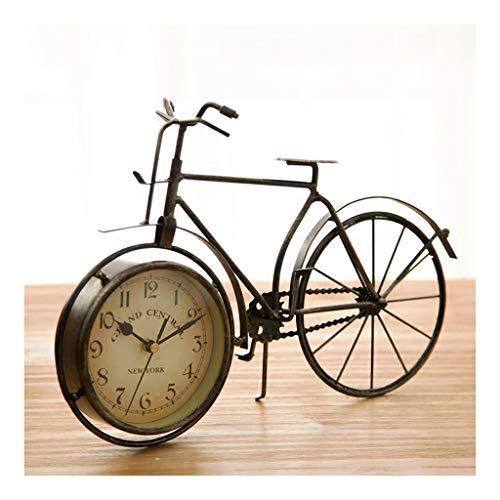 SHUTING2020 Reloj de Mesa Desktop Retro Desk Clock Classic Art Desk Desk Clock Bicicleta Estilo Viejo Chic Sala de Estar Decoración Desk Clock Péndulo Color Bronce Reloj de decoración de interiors