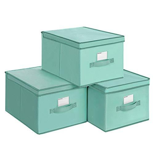 SONGMICS Juego de 3 Cajas Plegables de Alcon Tapas, Cubos de Tela con Portaetiquetas, 40 x 30 x 25 cm, Verde RFB03GN