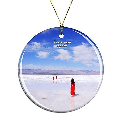 Kysd43Mill Adornos de cerámica para árbol de Navidad con diseño de torrevieja en el Lago de la Sal de España