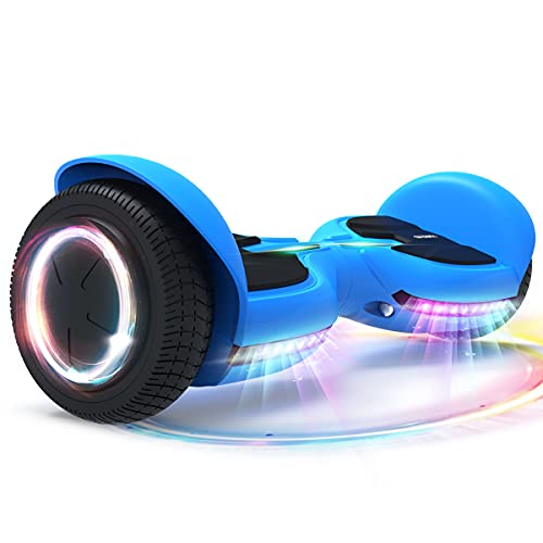TOMOLOO Hoverboard with Bluetooth and Lights of Music Rhythmed, Solid Rubber Tires Hover Board with UL2272 Certified, 6.5 Inch Two-Wheel Hoverboard for Adults and Kids