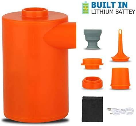 LISOPO Elektrische Luftpumpen USB Pumpe mit 4 Luftdüse,3 in 1 Aufblasen und Entleeren Elektropumpe für aufblasbarer Kissen, Luftmatratze, Luftsofa, Matratze,Boot,Schwimmring