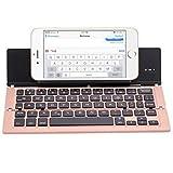 BBOOY Teclado Plegable Bluetooth, Tres teclados inalámbricos Plegables, con Soporte, Mini Teclado portátil, Adecuado para iOS, Android, Windows, Tableta,Rosado