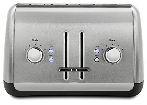 Grille-Pain 4 Tranches avec Levier KitchenAid en Acier Inoxydable Brossé - Modèle KMT4115SX - 1