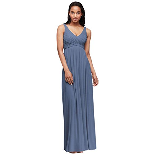 David's Bridal Long Mesh Bridesmaid Dress with Cowl Back Detail Style F15933, Steel Blue, 0
