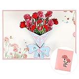 Kesote ポップアップカード メッセージカード 立体カード 敬老の日 花束 グリーティングカード お祝いカード カーネーション 母の日 父の日 出産お祝い 見舞いカード 封筒付き
