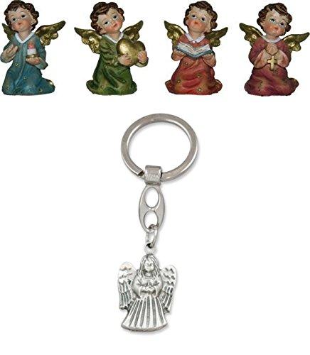 Unbekannt Schutzengel Engelchen, 4er Set, Höhe 5cm mit Schlüsselanhänger Engel stehend