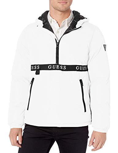 GUESS Men's Wind & Water Resistant Hooded Pullover Puffer Jacket, White, Medium