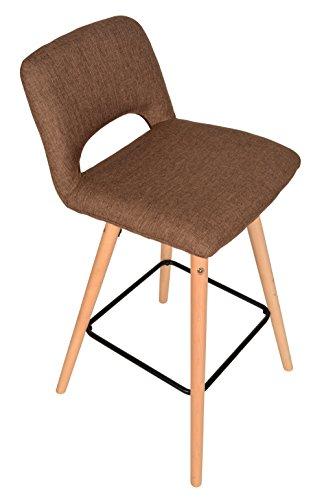 ts-ideen Design Klassiker Barhocker Stuhl Retro 50er Jahre Barstuhl Küchenstuhl Esstisch Stuhl Bistrostuhl Wohnzimmer Sitz braun Hocker Holz