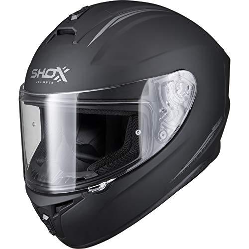 shox, robuster Motorradhelm Sniper Evo, Größe M, matt schwarz