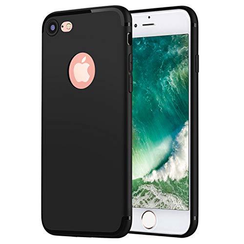 DOSMUNG Funda Compatible con iPhone SE 2020/8/7, Dura PC Mate Ultrafina Carcasa Compatible con iPhone SE 2020/8/7 [Protección a Bordes y Cámara][Anti-Rasguño/Golpes][Anti-Estático] Case - Negro