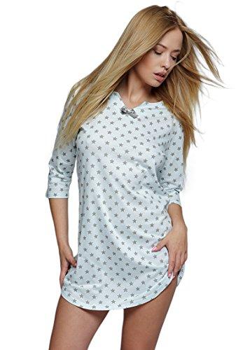 SENSIS edles und hochwertiges Baumwoll-Nachthemd Sleepshirt Langarm - Made in EU (S (36), weiß/grau mit Sternen)