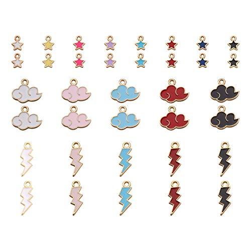 Beadthoven - 100 ciondoli a forma di nuvola di fulmine in lega smaltata, colorati e meteorologici, per gioielli, orecchini, bracciali, oggetti artigianali
