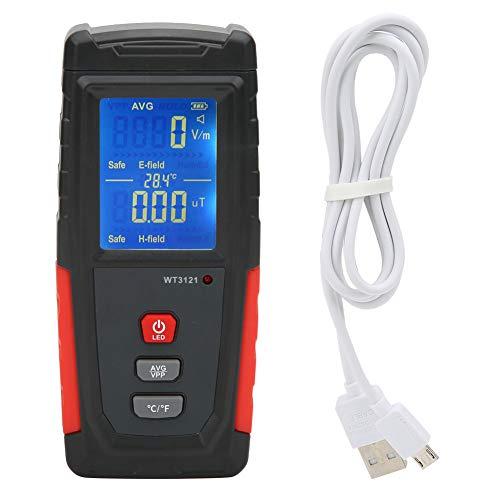 Detector de campo electromagnético para el hogar, mini probador de radiación con medidor EMF de 0.01μT-19.99μT, operación con una mano para casas de prueba Cable de alto voltaje